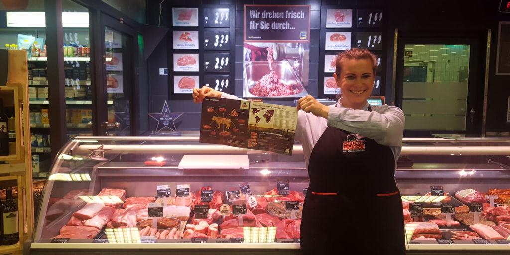 Promoción de carne uruguaya en supermercados alemanes.