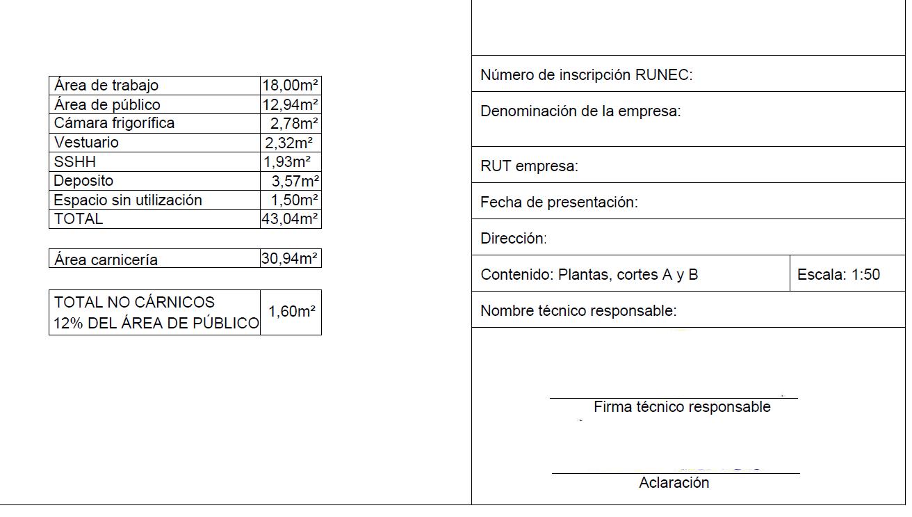 Modelo plano I (rotulación y declaración de áreas)